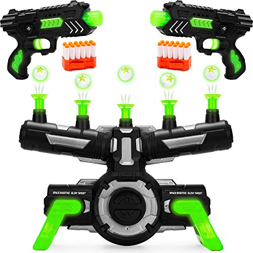 Best Choice Products Floating Target Shooting Game Set w/ 2 Glow-in-The-Dark Foam Dart Blasters, 24 Darts & Dart Clips