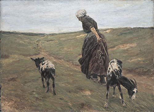 Cnvuos DIY Farbe nach Zahlen für Erwachsene Max Liebermann Impressionist Malerei Frau mit Ziegen in den Dünen DIY Ölgemälde Farbe nach Zahlen Kits
