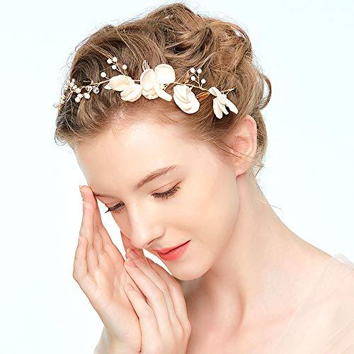 Braut Haardraht Kopfschmuck Haarschmuck Hochzeit Haarband und Stirnband mit Kristall Perle(35cm), Strass Kopfschmuck Hochzeit Haarschmuck für Frauen, Mädchen, Braut