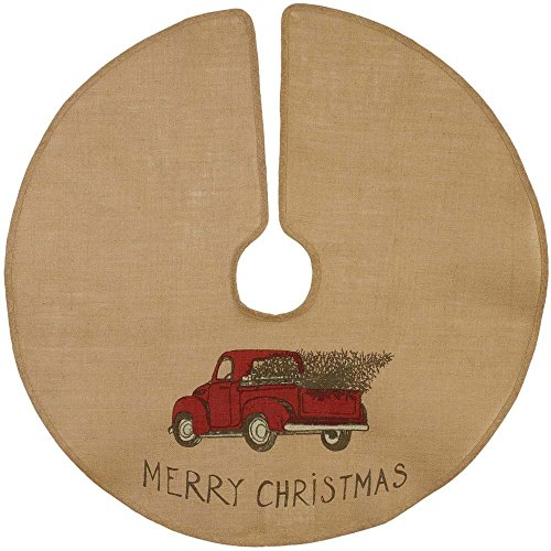 """The Country House Christmas Red Truck Burlap Tree Skirt (36"""")"""