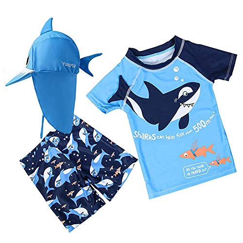 Baby Toddler Boys Two Pieces Swimsuit Set Shark Bathing Suit Rash Guards Swimwear with Hat UPF 50+ Blue 3XL