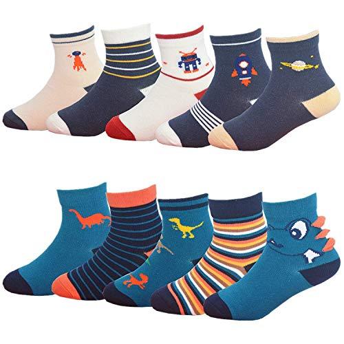 YANWANG 10 Paar Unisex Baby Baumwolle Socken für Kinder 1-12 Jahre(Dinosaurier & Raum,L:5-8 Years)