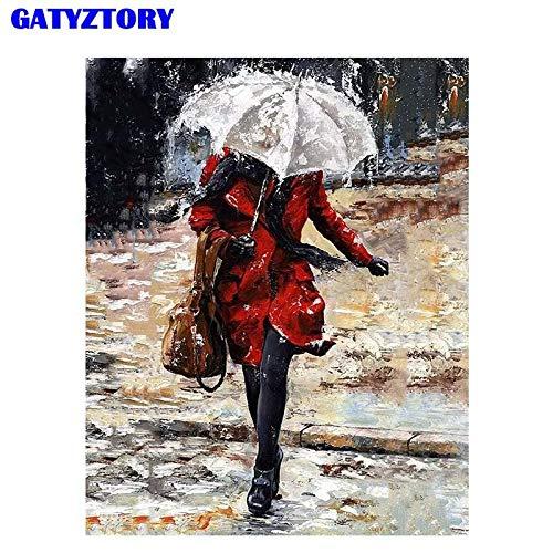 fdgdfgd Klassische romantische rahmenlose Malerei Ölgemälde Regenschirm Wohnzimmer Hauptdekoration Leinwand Ölgemälde Geschenk