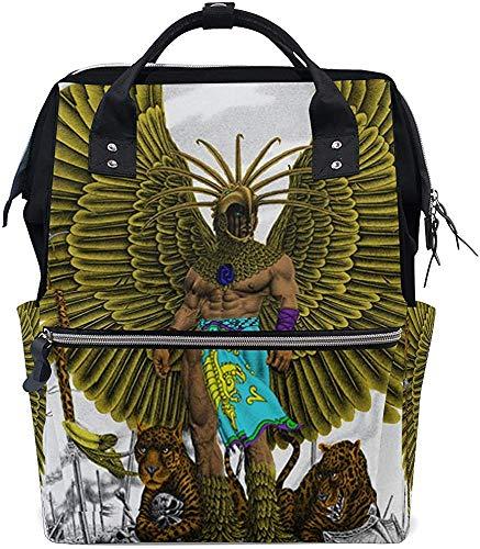 Daypacks Cartoon Aztec Warrior Mummiesrugzak Grotere capaciteit stijlvolle Papa luiertas babypverzorging reisdruk moer muti-functie waterdichte luiertassen rug