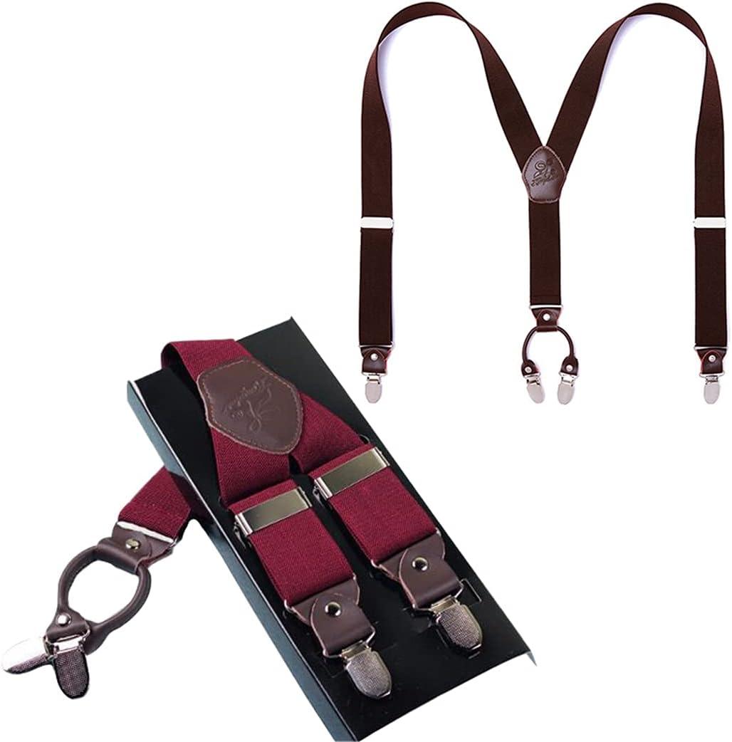 Lnrueg Man Suspender Elastic Heavy Duty Y-Back Suspender Adjustable Suspender Classic Wide Band Casual Suspender