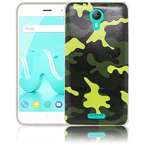 thematys Passend für Wiko Jerry 2 Camouflage Silikon Schutz-Hülle weiche Tasche Cover Hülle Bumper Etui Flip Smartphone Handy Backcover Schutzhülle Handyhülle