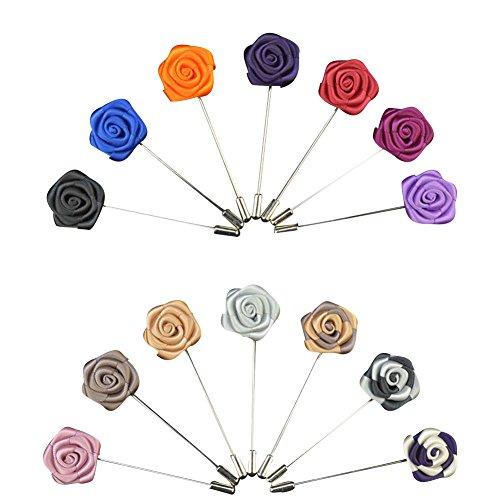Soleebee YM020 Ansteckblumen Gemischt zufällig Herren Handgefertigt Revers Pin Blume Set im Knopfloch Schläger Revers Krawatte Klassische Mini Rose Brosche Blume Boutonniere für Anzug (18 Stück)
