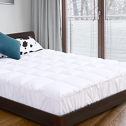 BedsPick Mattress Topper King Size Mattress Pad Extra Thick Luxury Pillow Top Bed Toppers Ultra Soft Plush with 3D Snow Down Alternative Fill 18 inch Fitted Deep Pocket Durable Long Lifespan
