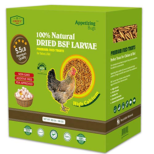 Dried Black Soldier Fly Larva/Dried Mealworms - 5.5 LBS - 100% Natural BSF Larvae -85XMore Calcium Than Mealworms- High Calcium Treats for Chickens, Birds, Reptiles, Hedgehog, Geckos, Turtles- 5.5 LBS