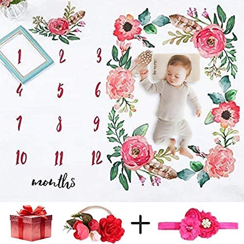 NinkyNonk Floral Baby Monthly Milestone Blanket Photo Props Set Newborn Photo Blanket Backdrop with Flower Headbands (Floral A)