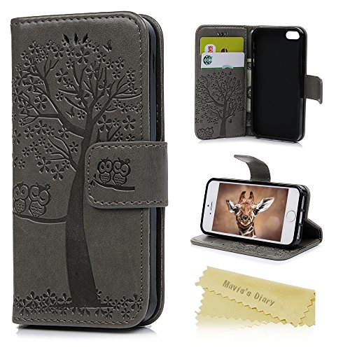 iPhone 5S Case,iPhone 5 Case,iPhone SE Case,Mavis's Diary Embossed Owl and Tree PU Leather Protective Wallet Case with Shockproof TPU Inner Bumper Magnetic Card Slot Stand Flip Cover - Grey