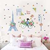 HANXIN Blue Tower Riding Girl Large Wall Stickers Home Decor Living Room Decoration Diy Mural Wallpaper Removable Wall Stickers