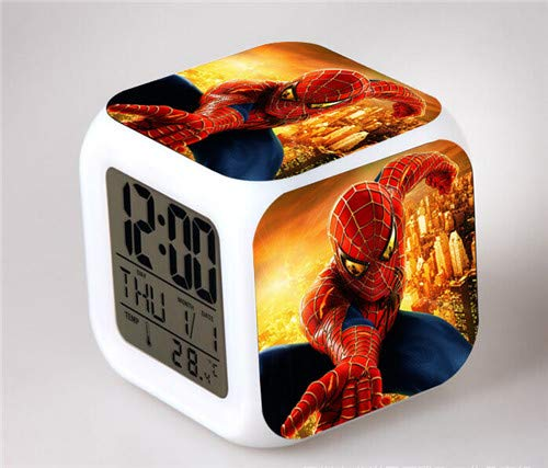 Sunshine Grocery Spiderman Digital Clock 7 Colors Changing Spider Man LED Alarm Clock Lovely Cartoon Night Light Alarm Clock for Kids,Clear