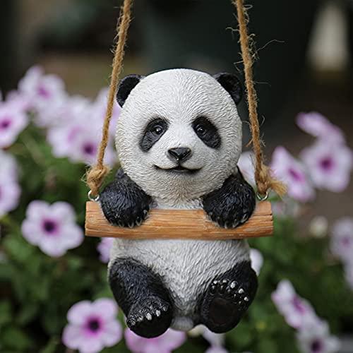 DJH Adorno de jardín de Panda de Resina, esculturas de jardín, Colgante, Duradero, poliresina, Animal, abrazador de árboles, Escultura, césped y jardín, decoración al Aire Libre, Estatua,A