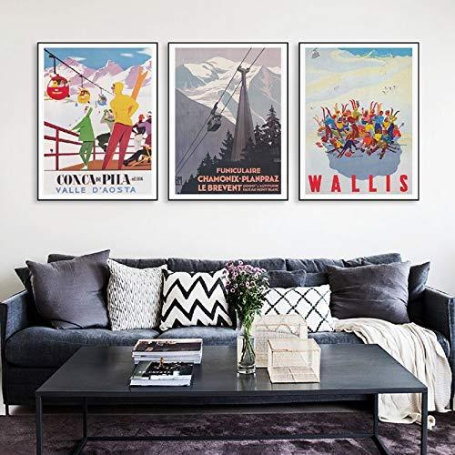 Schweiz Vintage ski Poster Kunstdruck Retro Italien Frankreich Reise Skifahrer leinwand wandkunst Dekoration rahmenlose malerei 60x80cm