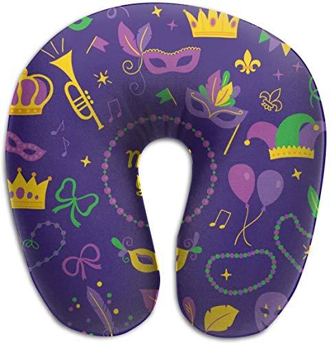 Memory Foam Nek Kussen Mardi Gras Ontwerp Carnaval Masker Trompet Kroon Lint Veren Confetti Komedie en Tragedy Maskers Fleur-de-lis Opmerkingen Ballon Harlequin Kralen Garland U-Shape Kussen