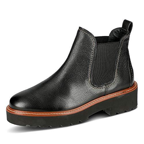 Paul Green 9675 005 Damen Chelsea Boots aus Leder Rutschhemmende Profilsohle, Groesse 39, schwarz