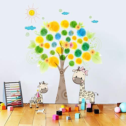 GYHTXHJPET muursticker, creatief, mode, muursticker, milieuvriendelijk, schilderen, decoratie voor huis, vliegtuig, decoratie, papier, giraffe, tekening van een park, voor kinderen, kinderkamer, kinderkamer, wanddecoratie, lijm, 70 x 100 cm