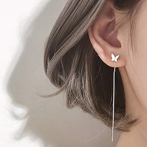 xingguang Novedad pendientes de cadena de color plata minimalista con borla larga para mujer, pendientes colgantes de personalidad y línea de oreja (color metal: borla larga plateada)