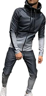 Sodossny-AU Men's Hoodies Running Zip Gradation Two-Piece Sets Active Jogger Tracksuits