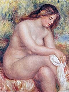 Renoir (Bather Drying her Leg, c.1910) Canvas Art Print Reproduction (20.1x15 in) (51x38 cm)