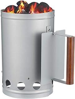 フラムローズ(FLAMROSE) 火起こし器 透気炭用 防火 円筒型 BBQ アウトドア キャンペ用 炭起こし 木ハンドル付 (円型筒)