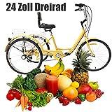 YIYIBY - Triciclo para Adultos y Personas Mayores de 6 Marchas, Rueda de 24 Pulgadas, 3 Ruedas, para Montar en Bicicleta, Pedal, Cruiser, Cesta Plegable