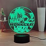 Lamchim - Luz nocturna LED con diseño de anime One Piece, Monkey D.Luffy Touch Remote 3D, lámpara para dormitorio, 7 colores de mesa de oficina, niños, niñas, adolescentes, cumpleaños