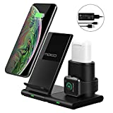 MoKo Cargador Inalámbrico Wireless Charger Compatible con iPhone y Apple Watch, 3 en 1 Base de Carga +Adapdator Rápida para iWatch Series 2/3/4/5, AirPods 1/2, iPhone 11 Pro Max/11 Pro/11/XR/Xs/8
