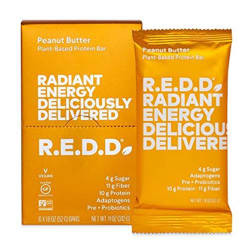 R.E.D.D. Bar, Vegan Protein Bar, Low Sugar & Gluten-Free, Peanut Butter, 12 Bars