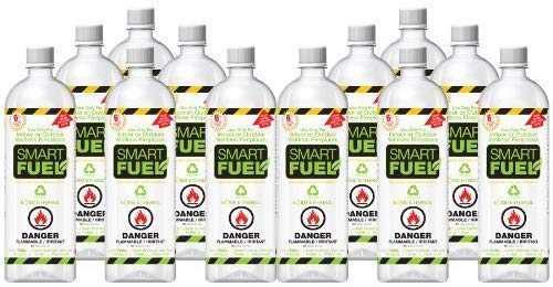 SMART FUEL 12 Liter Pack- Indoor/Outdoor Fireplace Fuel- Ultra Pure Safety Pour Technology- Toxic Free, Planet Friendly, Ethanol for Indoor and Outdoor Burning