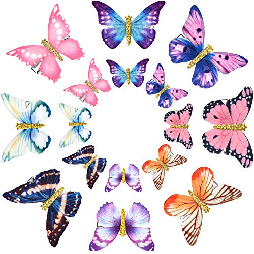 16 Pieces Butterfly Clips Baby Hair Clips Butterfly Glitter Barrette for Women Girl and Infant (Classic Style)