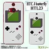 au HTC J butterfly HTL23 専用 カバー ケース (ハード) ● ゲームボーイ ホワイト