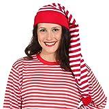 NET TOYS Gestreifte Schlafmütze für Damen & Herren | Rot-Weiß | Verträumte Unisex-Kopfbedeckung Schnarchnase geeignet für Nachthemdenball & Karneval