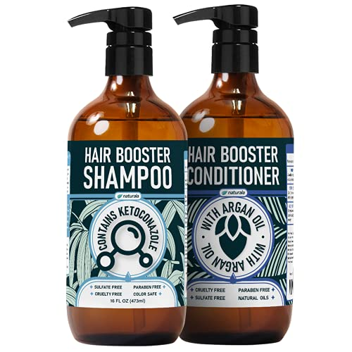 Naturala Hair Growth Shampoo and Conditioner Set - All-Natural Formula with Biotin, DHT Blockers, And Essential Oils For Reducing Hair Loss And Thinning Hair - Hair Loss Shampoo For Men And Women