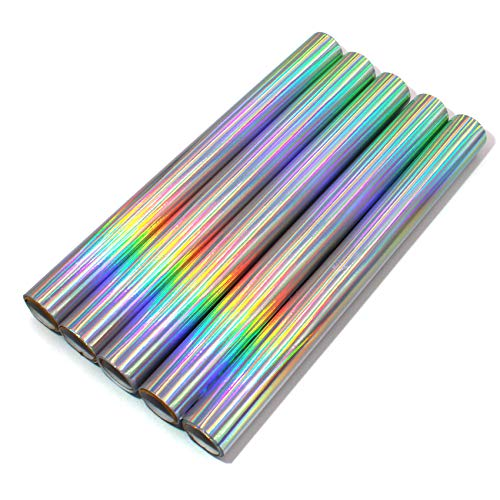 5er Set Glitzerfolie Klebefolie 100x33cm pro Rolle Hologramm Glitzer Folie Bastelfolie Dekofolie Glitter Vinyl DIY (Rainbow)