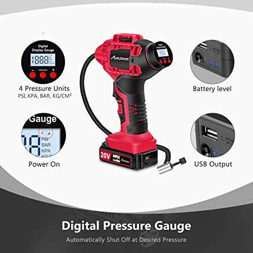 AVID POWER Tire Inflator Air Compressor, 20V Cordless Car Tire Pump with Rechargeable Li-ion Battery, 12V Car Power Adapter, Digital Pressure Gauge