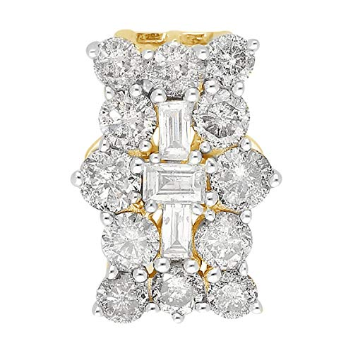TJC White Diamond I3/G-H Cluster Pendant for Women Wedding Jewellery in 9ct Yellow Gold SGL Certified, TCW 1ct.