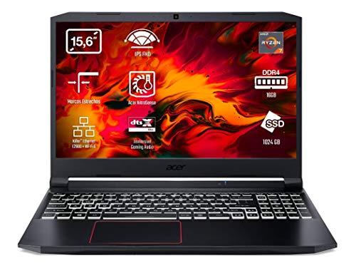 Acer Nitro 5 AN515-44 - Portátil Gaming 15.6' FullHD (AMD Ryzen 7 4800H, 16GB RAM, 1TB SSD, NVIDIA GTX1650, Sin Sistema Operativo), Color Negro - Teclado QWERTY Español