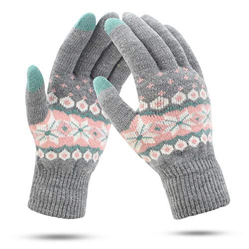 ECOMBOS Touchscreen Handschuhe Damen - Winter Warm Handschuhe Touch Screen Fleecefutter Fäustlinge Strickhandschuhe Weihnachten Geschenke für Damen Mädchen