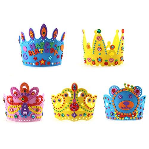 TOYMYTOY Partei-Hüte, Geburtstags-Hüte,DIY Geburtstags-Kronen-Hut für Kinder, 5pcs