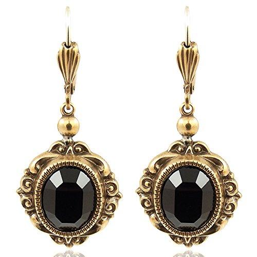 Vintage Ohrringe mit Kristallen von Swarovski® Schwarz Gold NOBEL SCHMUCK