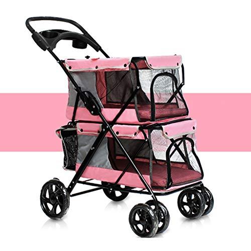 Verstelbare hondentransportwagen voor huisdieren, honden, katten, opvouwbaar, eenvoudig in te klappen, dubbele kinderwagen voor huisdieren, vier ronde reisaccessoires,  Oro rosa + oro rosa