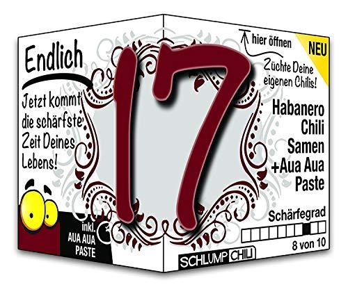Schlump-Chili⎥Endlich 17 - das witzige scharfe Geburtstagsgeschenk. Eine originelle Geschenkidee zum 17. Geburtstag für junge Männer und Frauen