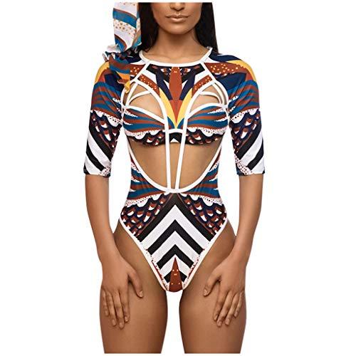 LoveLeiter Damen Einteilige Vintage Muster Afrika Bikini Brasilianische Badeanzug V Ausschnitt Beachwear Bademode Hoher Taille Swimwear Bandeau Oberteil Bikinihose Sport Geteilter Badebekleidung