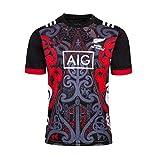 HANJIAJKL Team New Zealand, Coupe du Monde, Chemises pour Hommes, Maori All Blacks, Maillot d'entraînement de Rugby, Maillot de Sport,Noir,S