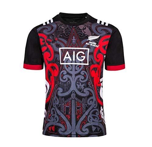 HANJIAJKL Equipo de Nueva Zelanda,Copa del Mundo, Camisas para Hombres Maori All Blacks, Camiseta de Entrenamiento de Rugby,Camisa Deportiva,Negro,XL