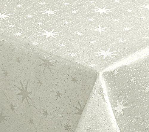 Lurex Sterne Tovaglia Natalizia, Colore Oro O Argento, Misura A Scelta, Fibra Sintetica, Crema-Oro., Eckig 130 X 220 Cm