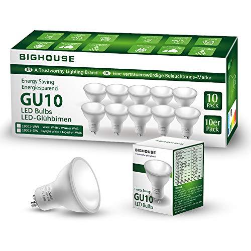Ampoules LED GU10, 5W équivalent Ampoule Halogène 60W, 400lm, Blanc Chaud 3000K, 120° Larges Faisceaux, Ampoules LED Spot, Lot de 10 [Classe énergétique A+]