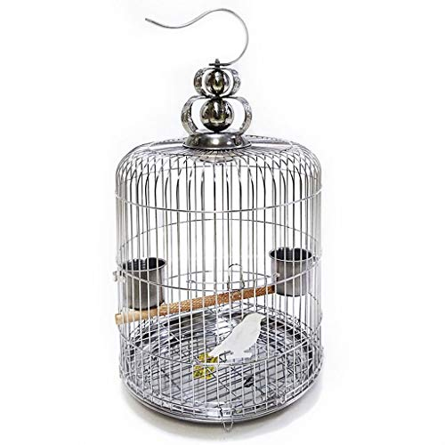 YINGZI Birdscage Stainless Steel Bird Cage Round Medium Pet House Metal Bird Cage Pet Home Travel Cage with standing poles 2 food containers Make & Decorate (Size : 40cm)